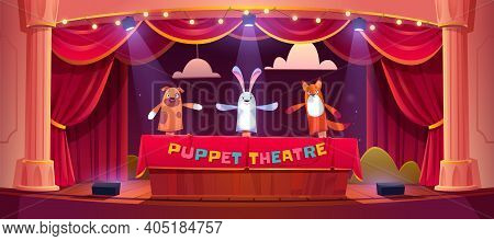 Puppet Show On Theater Stage With Red Curtains And Spotlights. Vector Cartoon Illustration Of Theatr