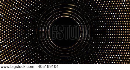 Golden Circles On Halftone Background. 3d Realistic Modern Shining Template Vector Illustration. Sim