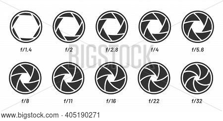 Camera Lens Aperture Size Set, Black White Style. Vector Focus Camera, Optical Photography Objective