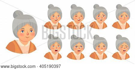 Grandmother Emotions Set. Vector Woman Lady Expression, Senior Elder Doubt Face, Surprise And Annoyi