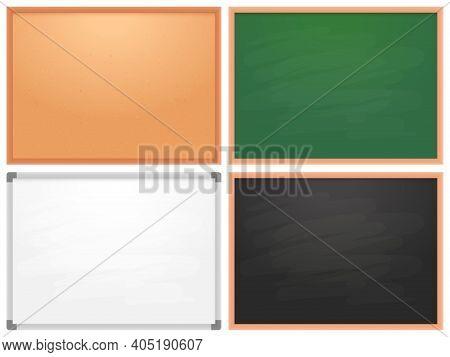 School Chalkboard, Cork Board, Whiteboard For Markers. Collection Of Billboard For School College Oe