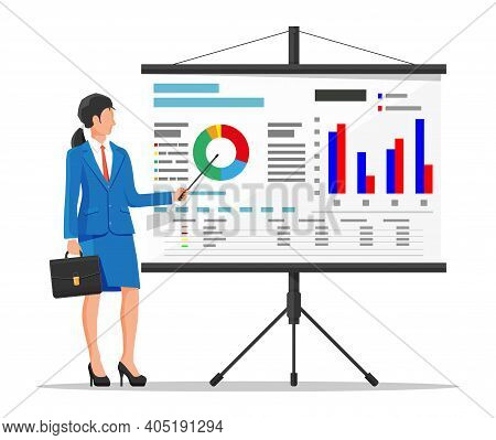 Businesswoman In Suit Giving Presentation With Projector Screen. Tv Screen With Financial Report And