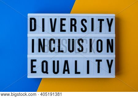Diversity Inclusion Equality Lettering. Text. Diversity, Age, Ethnicity, Sexual Orientation, Gender,