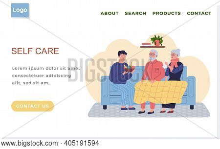 Internet Website Page Layout. Self Care Concept. Man Giving Fresh Fruit To Elderly Relatives. Preven