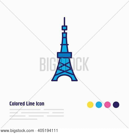 Vector Illustration Of Tokyo Tower Icon Colored Line. Beautiful World Landmarks Element Also Can Be