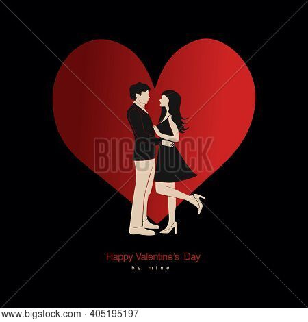 Vector Valentine's Day Card, Story Or Poster, Abstract Man And Female Shapes And Silhouette. Contemp