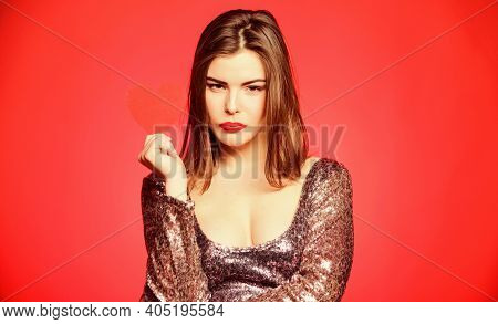Girl Adorable Fashion Model Makeup Face Hold Heart Valentines Card. Obsession Concept. Love From Fir