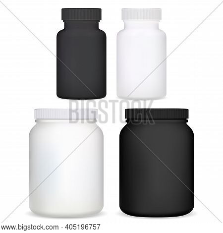 Supplement Bottle. Plastic Vitamin Pill Jar 3d Vector Blank. Isolated Medicine Container In Black An