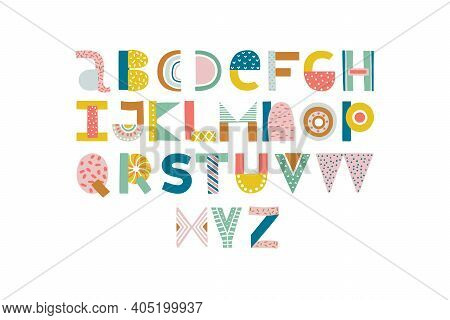 Abstract Stylish Alphabet . Nursery Lettering. Childish Style Bright Color Abc.
