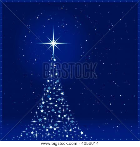 Square Blue Christmas Background With Christmas Tree