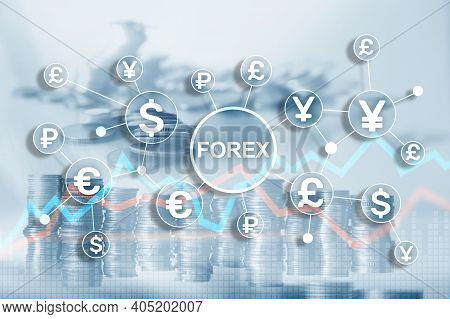 Blue Financial Forex Background. Trading Trading Stocks Bonds.