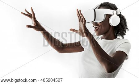 African American  woman experiencing VR simulation