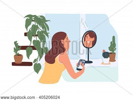 Upset Young Woman Looking At Her Unhealthy Skin With Acne In Mirror And Comparing Her Face With Reto