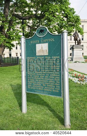 Info Sign In Front Of State Capitol Building In Lansing