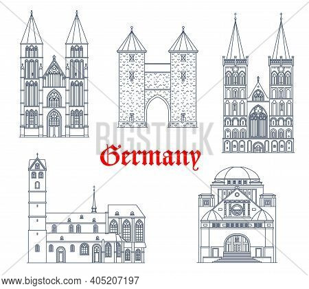 Germany Landmark Buildings And Travel Icons, Dortmund Architecture Vector Icons. German Landmarks Of