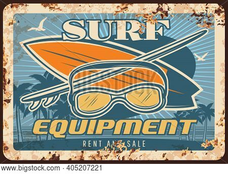 Surf Equipment Rusty Metal Plate With Surfing Boards And Mask On Seascape Background With Palm Trees