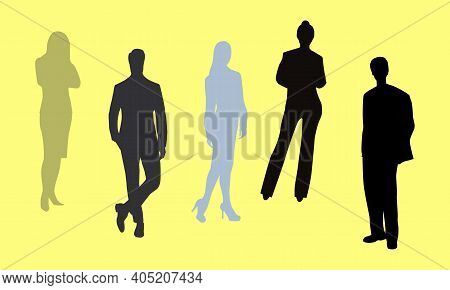 Set Of Silhouettes Of Business People. Vector Illustration. Crowd Silhouette. People Group Shadow Si