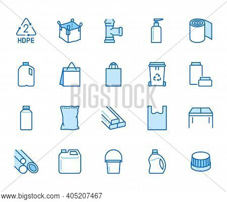 High Density Polyethylene Flat Line Icons. Hdpe Products - Jerry Can, Plastic Canister, Pipes, Milk