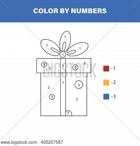 Color Cute Gift Box By Number. Educational Math Game For Children. Coloring Page.