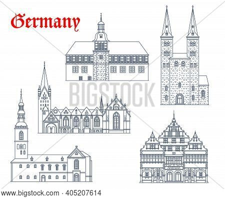 Germany Landmark Buildings And Architecture Icons, German Churches And Cathedrals, Vector. St Kilian