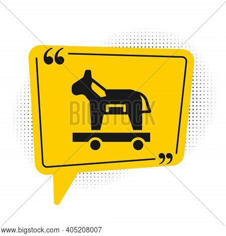 Black Trojan Horse Icon Isolated On White Background. Yellow Speech Bubble Symbol. Vector