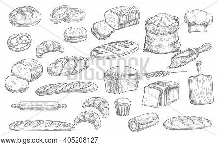 Bread And Bakery Food Sketch Vector Icons Baked Loaf, Rye And Wheat Bread, Croissants And Pretzel. B