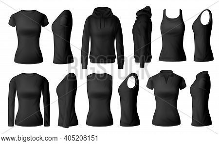 Women Clothes Isolated Vector Black Tshirts Polo, Hoodie And Longsleeve Shirts With Singlet Apparel