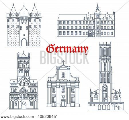 Germany Landmark Buildings And Travel Icons, Dusseldorf Architecture Vector Icons. St Andreas Kirche