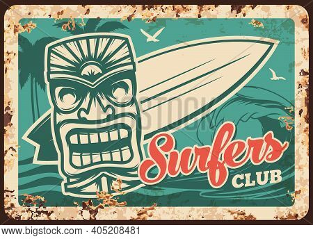 Surfing And Surfer Club Metal Plate Rusty, Surfboard On Water Waves, Vector Vintage Retro Poster. Su