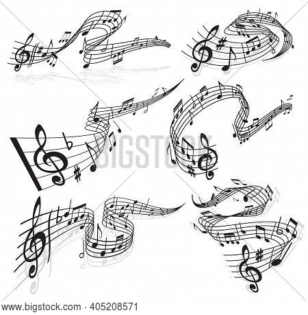 Music Waves, Vector Musical Notes And Treble Clef On Curvy Stave. Melody Sounds Symbols, Musical Not