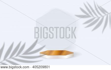 Wooden Podium And Leaves On A White Background. Product Presentation, Mock Up, Cosmetic Product Disp
