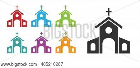 Black Church Building Icon Isolated On White Background. Christian Church. Religion Of Church. Set I