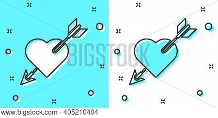 Black Line Amour Symbol With Heart And Arrow Icon Isolated On Green And White Background. Love Sign.