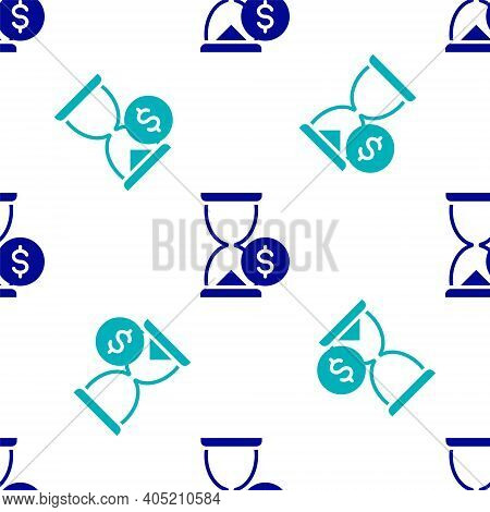 Blue Hourglass With Dollar Icon Isolated Seamless Pattern On White Background. Money Time. Sandglass