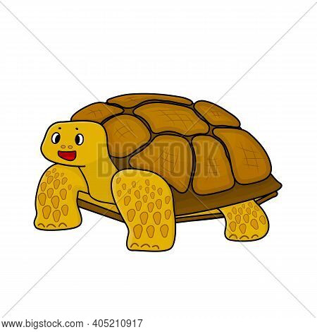 Yellow Cute Spiked African Tortoise. Animal Is Smiling And Isolated On White Background