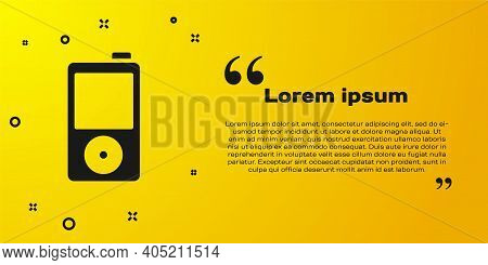 Black Music Player Icon Isolated On Yellow Background. Portable Music Device. Vector
