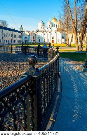 Veliky Novgorod, Russia - April 22, 2019. St Sophia Cathedral And The Monument Millennium Of Russia