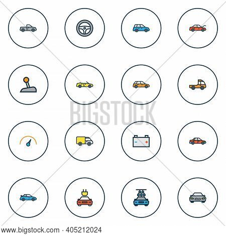 Automobile Icons Colored Line Set With Prime-mover, Speedometer, Battery And Other Truck Elements. I