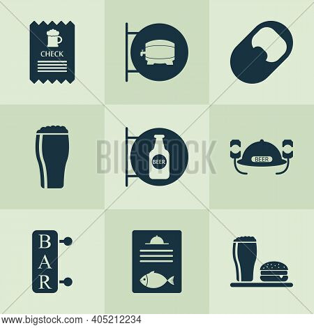 Alcohol Icons Set With Check, Opener, Ale Sign And Other Placard Elements. Isolated Vector Illustrat