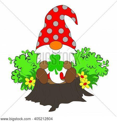 Gnome Saint Patrick Lucky, Irish, Shamrock With Clover Leave, Sit On The Log Timber, Bush, Flower. C
