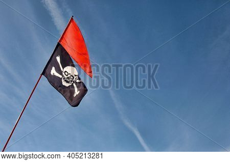 Low angle shot of Jolly Roger Flag