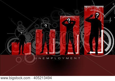Abstract Unemployment Background. Silhouettes Of People Against The Background Of The Growing Graph