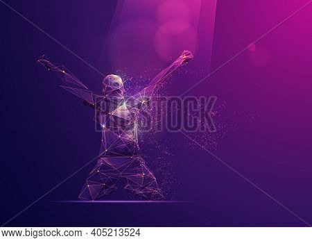 Goal Celebration Of Football Player Presented In Wireframe Polygonal Style