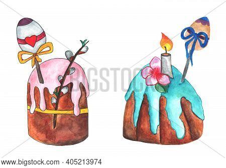 Two Easter Cakes - With Pink Icing And A Willow Twig, And With Blue Icing And A Candle. A Hand-drawn