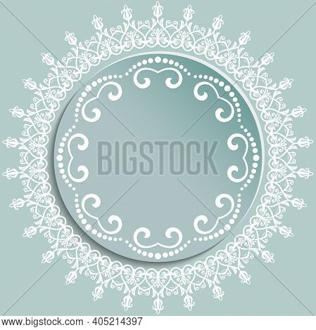 Round Vector Light Blue And White Frame With Floral Elements And Arabesques. Pattern With Arabesques