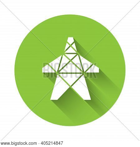 White Electric Tower Used To Support An Overhead Power Line Icon Isolated With Long Shadow. High Vol