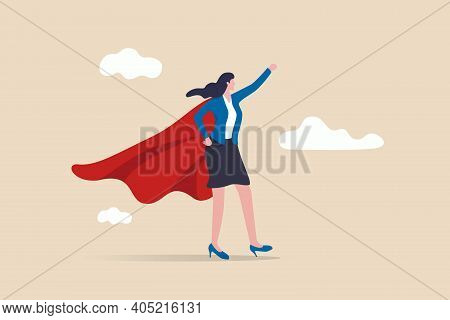Lady Power, Woman Leadership, Feminism Or Female Empowerment Concept, Confidence Powerful Businesswo
