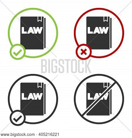 Black Law Book Icon Isolated On White Background. Legal Judge Book. Judgment Concept. Circle Button.