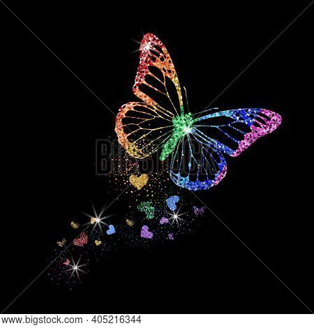 Rainbow Colors Glittering Butterfly With Hearts. Beautiful Colorful Silhouettes On Black Background