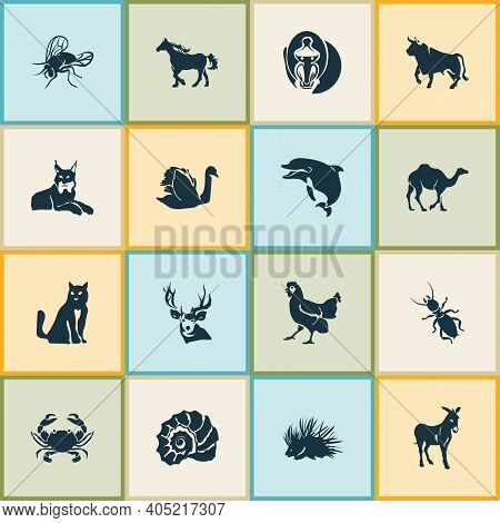 Zoo Icons Set With Swan, Fly, Deer And Other Ox Elements. Isolated Illustration Zoo Icons.